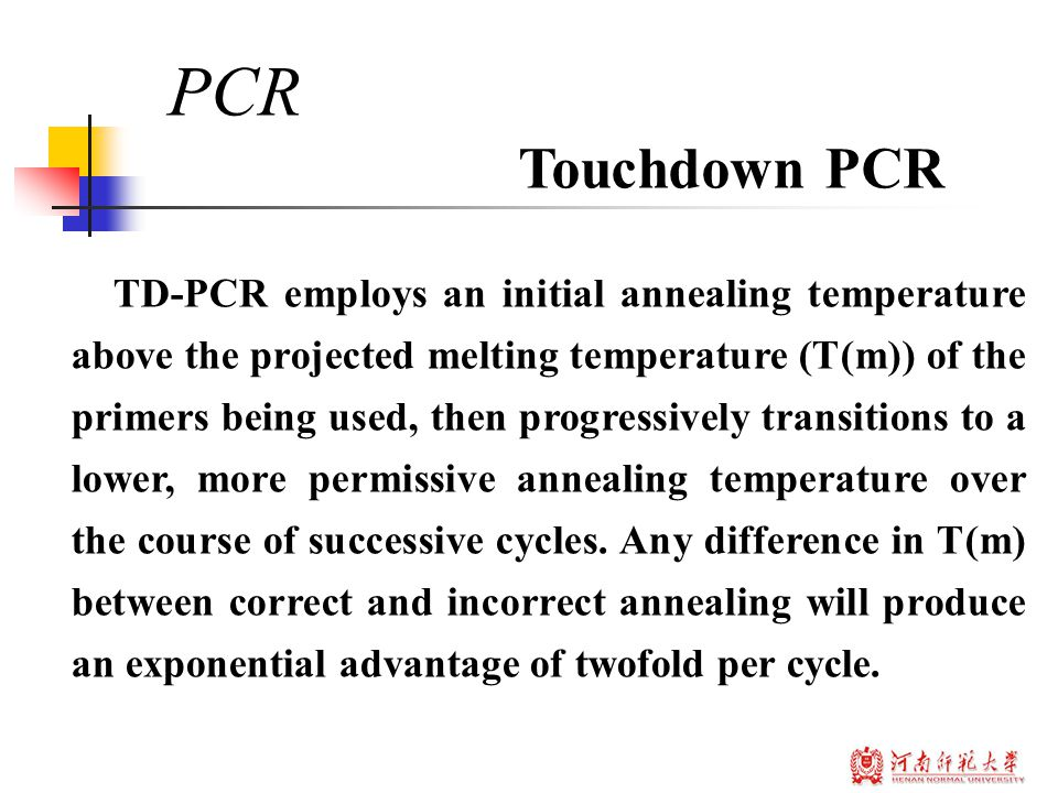 TD-PCR employs an initial annealing temperature above the projected melting temperature (T(m)) of the primers being used, then progressively transitions to a lower, more permissive annealing temperature over the course of successive cycles.