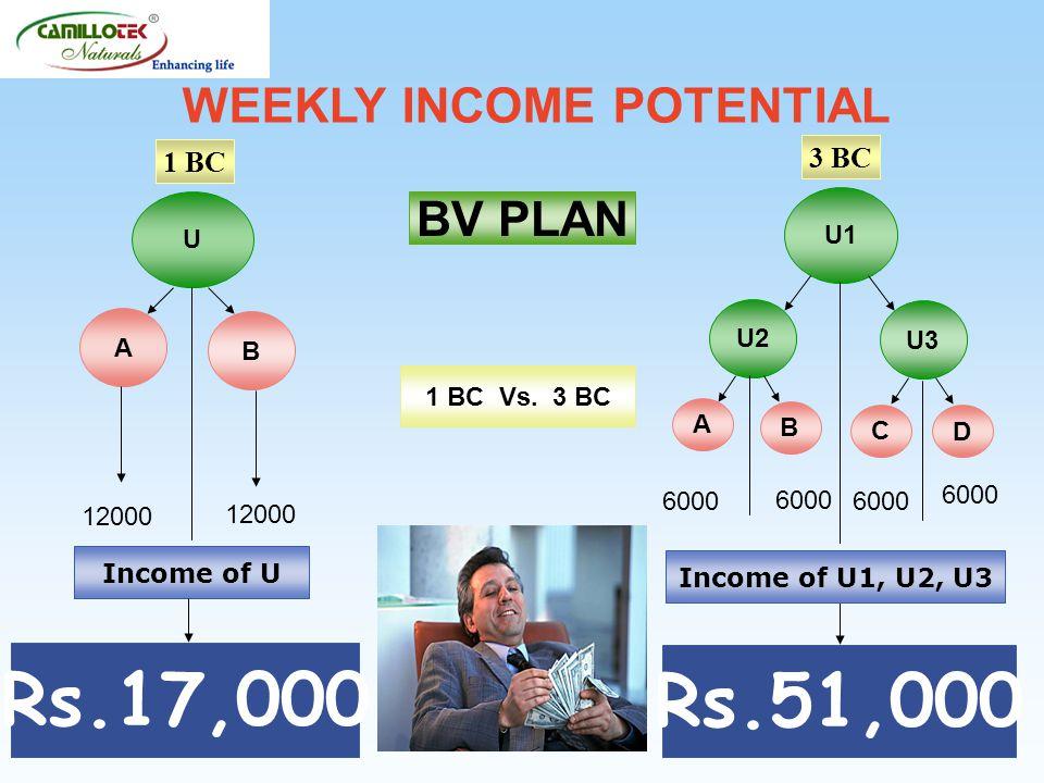 1 BC WEEKLY INCOME POTENTIAL U A 12000 Income of U U1 U2 U3 A 6000 3 BC B B C D Rs.51,000 Rs.17,000 Income of U1, U2, U3 BV PLAN 1 BC Vs.