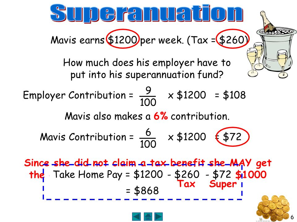 6 How much does his employer have to put into his superannuation fund.