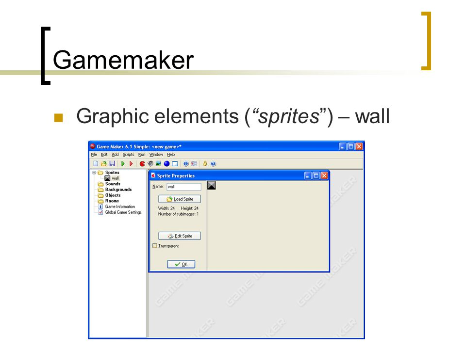 Gamemaker Graphic elements ( sprites ) – wall