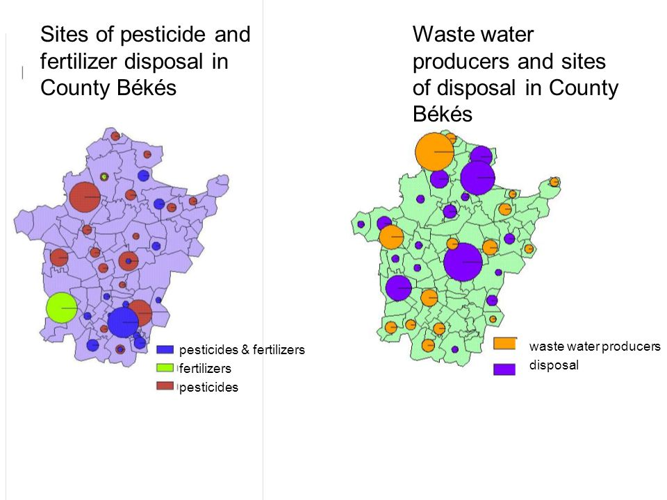 Sites of pesticide and fertilizer disposal in County Békés Waste water producers and sites of disposal in County Békés pesticides & fertilizers fertilizers pesticides waste water producers disposal