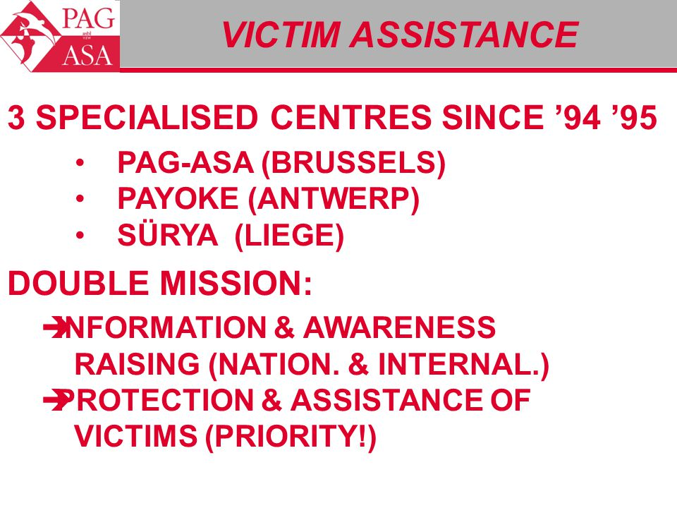 3 SPECIALISED CENTRES SINCE '94 '95 PAG-ASA (BRUSSELS) PAYOKE (ANTWERP) SÜRYA (LIEGE) DOUBLE MISSION:  INFORMATION & AWARENESS RAISING (NATION. & INT