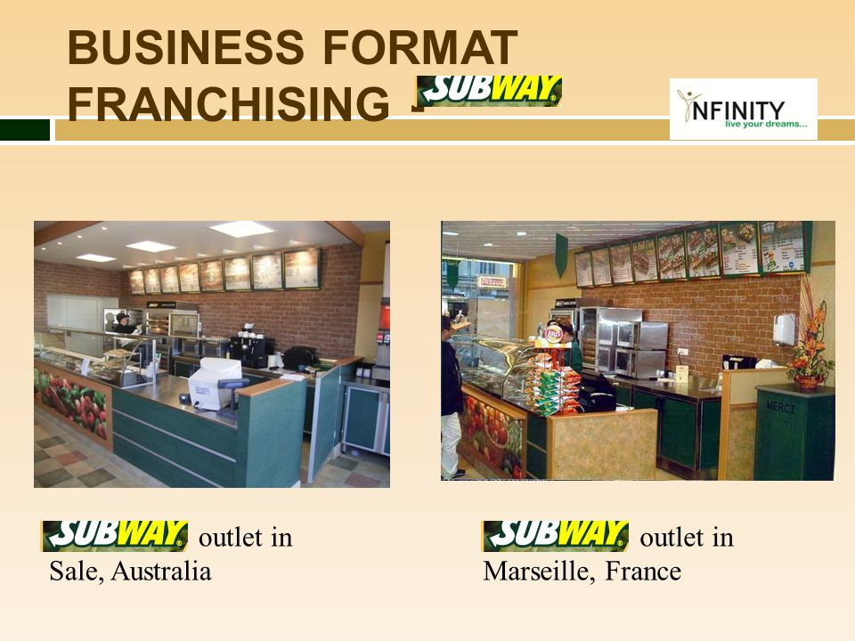 BUSINESS FORMAT FRANCHISING - outlet in Sale, Australia outlet in Marseille, France