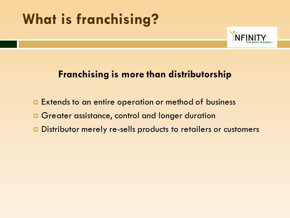 TYPES OF FRANCHISE  3 main types of franchise:  Product distribution franchise;  Business format franchise; and  Management franchise.
