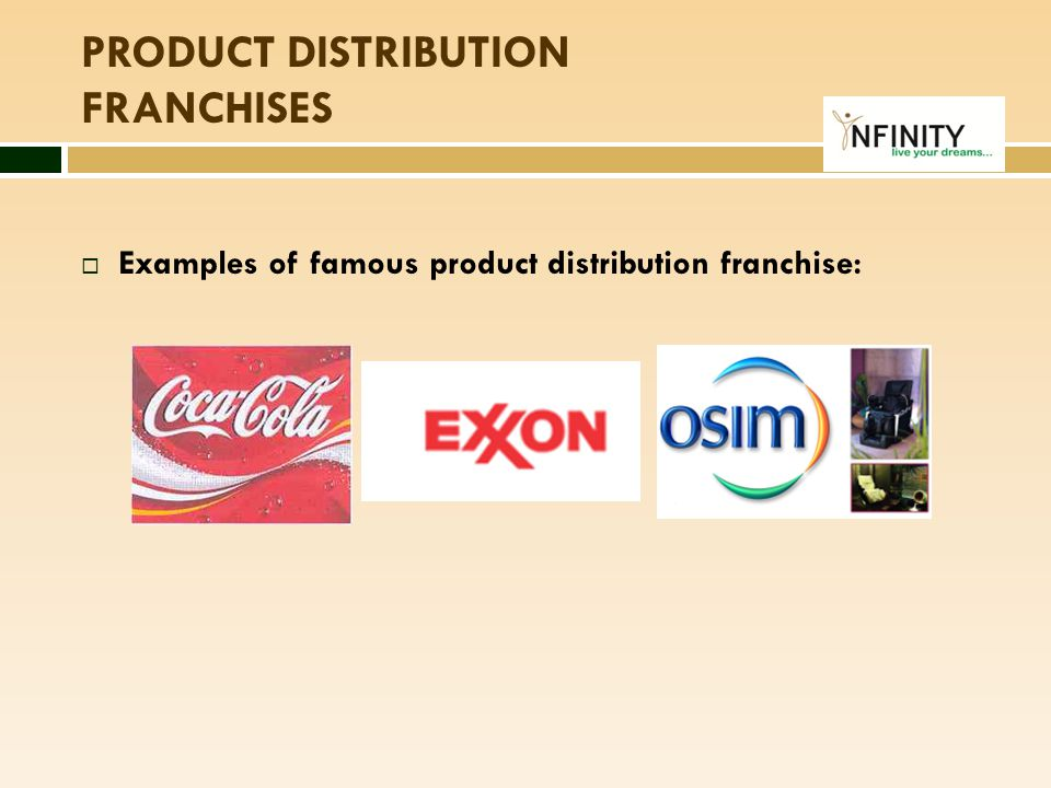 Produces the syrup concentrate Sells the syrup concentrate FRANCHISEE Produces the final drink Retail Stores Restaurants & F&B Outlets Vending Machine Operators PRODUCT DISTRIBUTION FRANCHISES