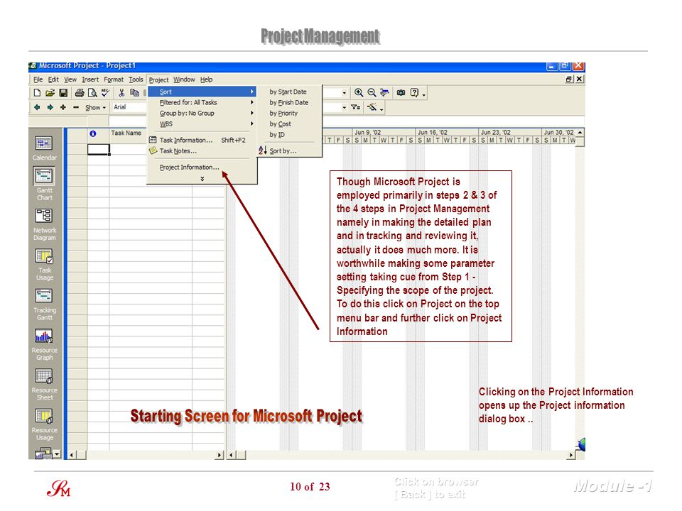 10 of 23 Though Microsoft Project is employed primarily in steps 2 & 3 of the 4 steps in Project Management namely in making the detailed plan and in