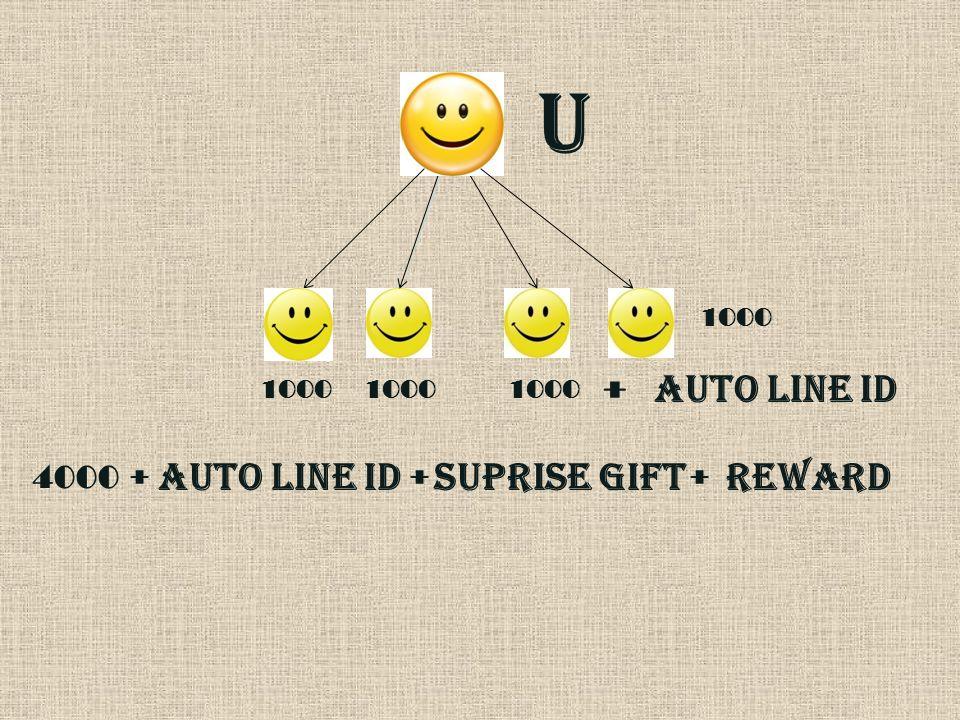 U 1000 + AUTO LINE ID + 4000 SUPRISE GIFT + AUTO LINE ID + REWARD