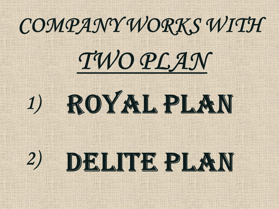 COMPANY WORKS WITH TWO PLAN 1) 2) DELITE PLAN ROYAL PLAN