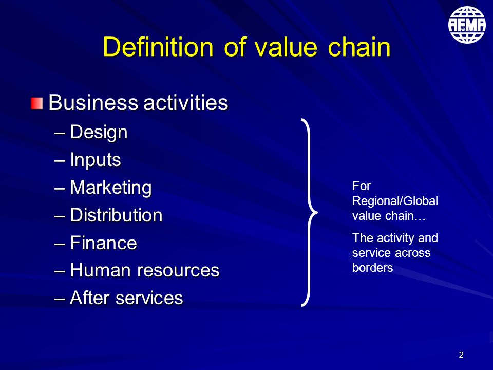 2 Definition of value chain Business activities –Design –Inputs –Marketing –Distribution –Finance –Human resources –After services For Regional/Global value chain… The activity and service across borders