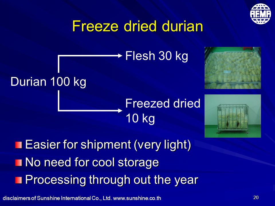 20 Freeze dried durian Easier for shipment (very light) No need for cool storage Processing through out the year Durian 100 kg Freezed dried 10 kg Flesh 30 kg disclaimers of Sunshine International Co., Ltd.
