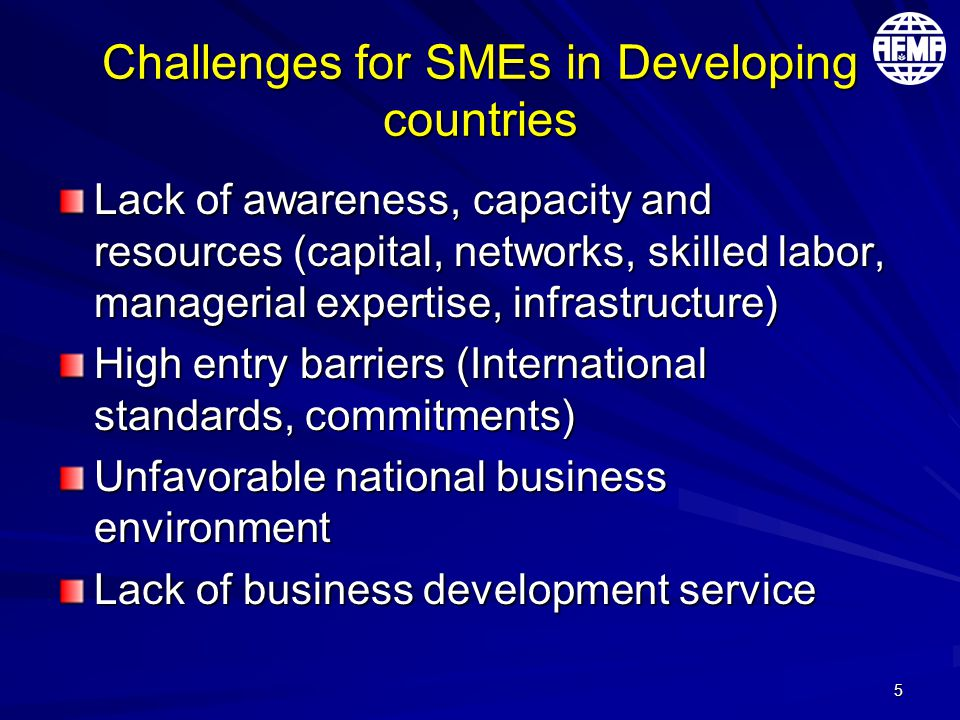 5 Challenges for SMEs in Developing countries Lack of awareness, capacity and resources (capital, networks, skilled labor, managerial expertise, infra