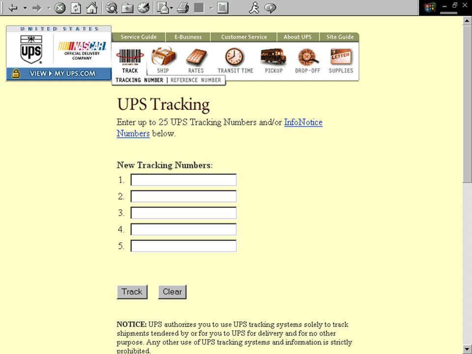Tracking Options http://www.ups.com/ UPS OnLine WorldShip Tracking Information: 800-457- 4022