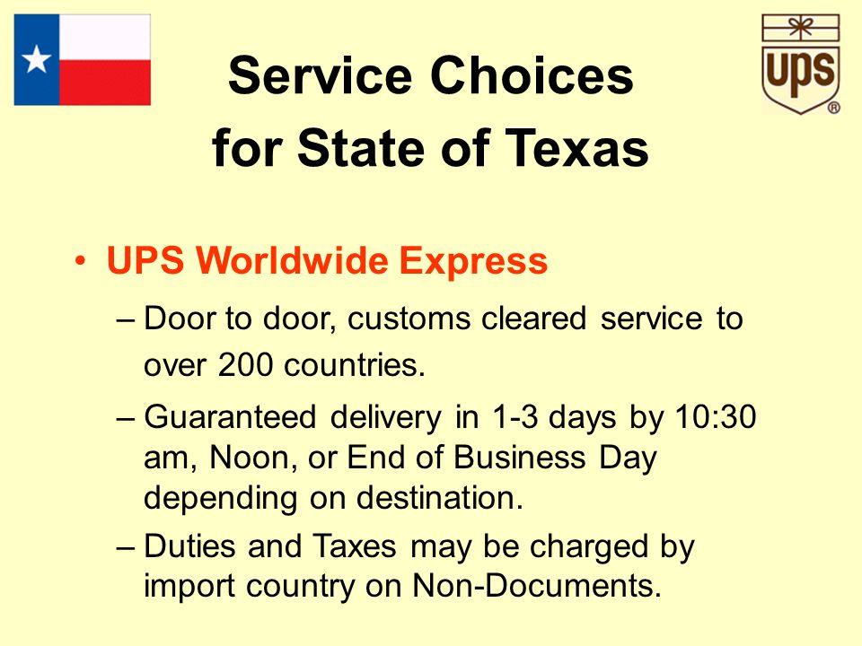 UPS Worldwide Express –Door to door, customs cleared service to over 200 countries.