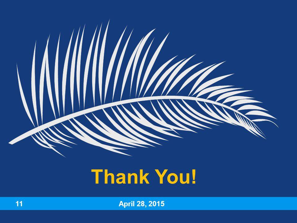 April 28, 2015 11 Thank You!