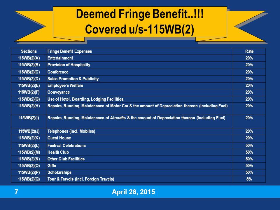 April 28, 2015 7 Deemed Fringe Benefit..!!.