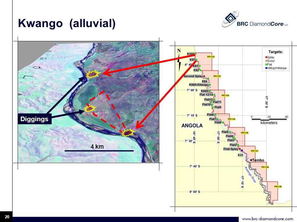 20 Kwango (alluvial) 4 km Diggings
