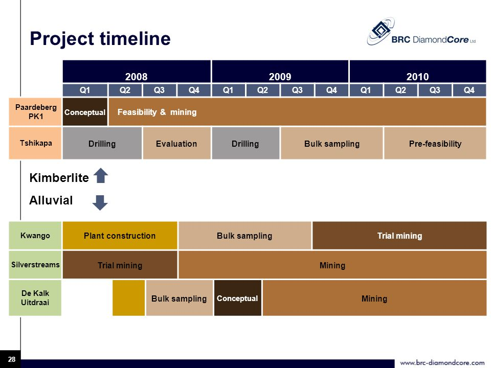 28 Project timeline 200820092010 Q1Q2Q3Q4Q1Q2Q3Q4Q1Q2Q3Q4 Paardeberg PK1 Conceptual Feasibility & mining Tshikapa DrillingEvaluationDrillingBulk samplingPre-feasibility Kwango Plant constructionBulk samplingTrial mining Silverstreams Trial miningMining De Kalk Uitdraai Bulk sampling Conceptual Mining Kimberlite Alluvial
