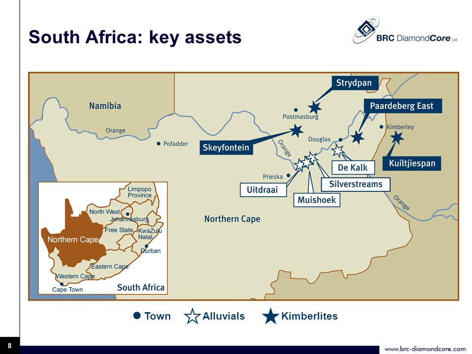 9 Paardeberg East (kimberlite) 50 tph DMS sampling plant Bulk sampling PK1 – 70,000 t PK3 – 32,000 t PK2 – 15,000 t PK5 – 9,600 t regional bulk sampling facility Surface rights belong to BRC DiamondCore ltd