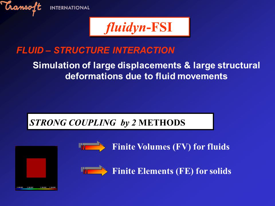 fluidyn-FSI FLUID – STRUCTURE INTERACTION Simulation of large displacements & large structural deformations due to fluid movements STRONG COUPLING by
