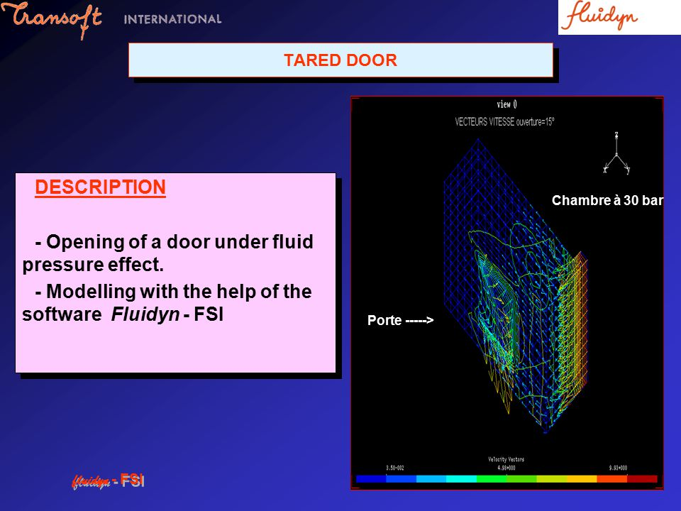 TARED DOOR DESCRIPTION - Opening of a door under fluid pressure effect.