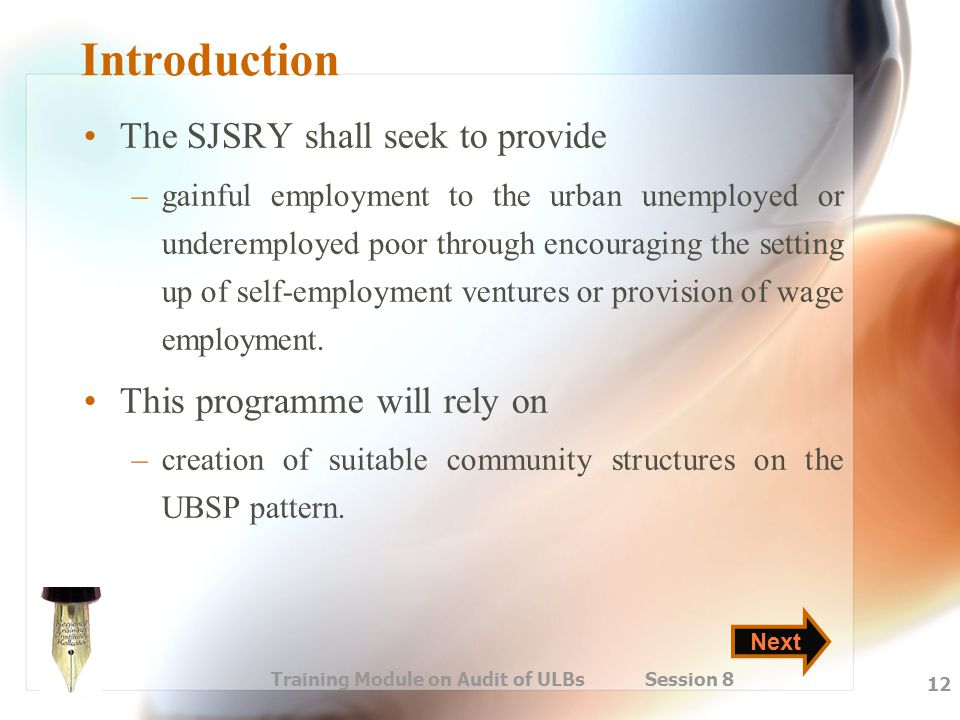 Training Module on Audit of ULBs Session 8 12 Introduction The SJSRY shall seek to provide –gainful employment to the urban unemployed or underemploye