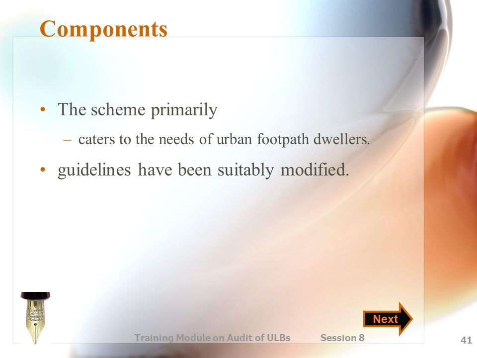 Training Module on Audit of ULBs Session 8 41 Components The scheme primarily –caters to the needs of urban footpath dwellers. guidelines have been su