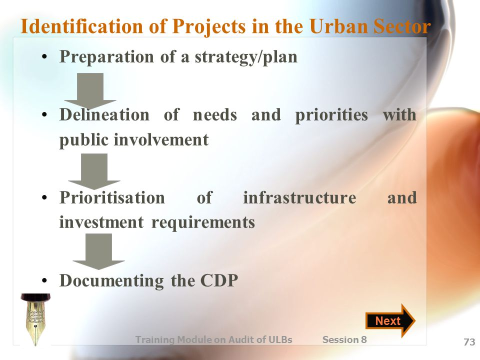Training Module on Audit of ULBs Session 8 73 Identification of Projects in the Urban Sector Preparation of a strategy/plan Delineation of needs and p