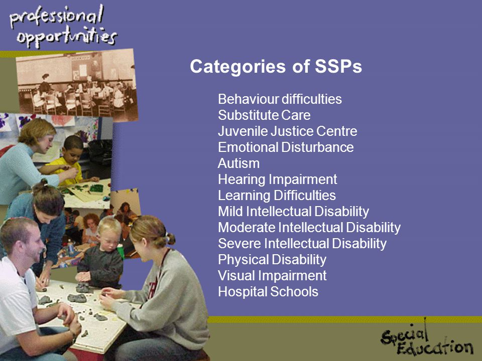 """ SSP's are for students from Pre-school to Year 12 who require intensive levels of support. These schools provide a specialised educational setting i"