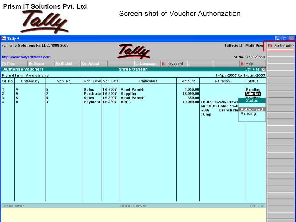 Screen-shot of Voucher Authorization Prism IT Solutions Pvt. Ltd.
