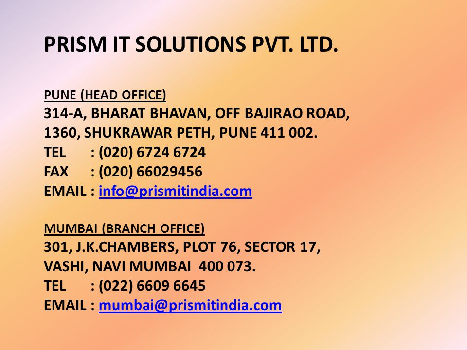 PRISM IT SOLUTIONS PVT. LTD.