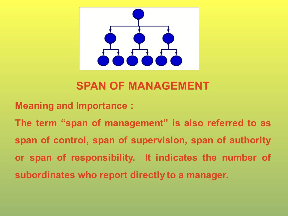 SPAN OF MANAGEMENT Meaning and Importance : The term span of management is also referred to as span of control, span of supervision, span of authority or span of responsibility.