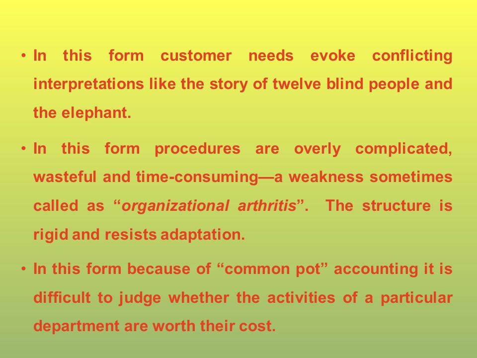 In this form customer needs evoke conflicting interpretations like the story of twelve blind people and the elephant.