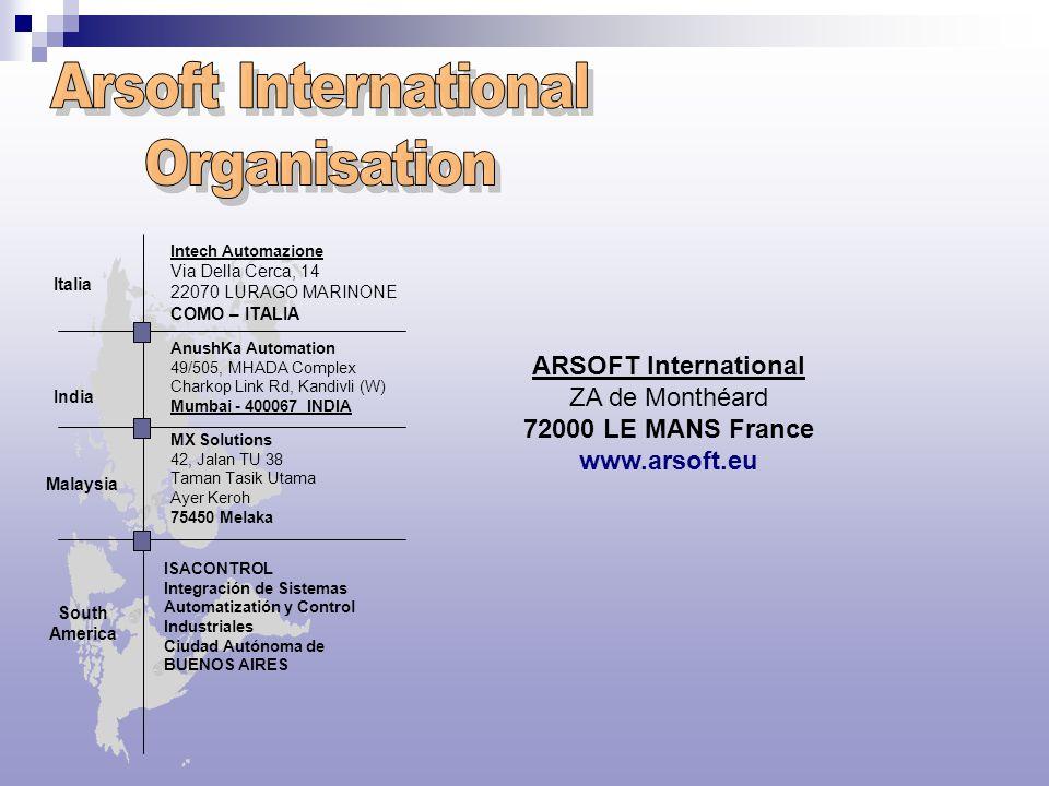 ARSOFT International ZA de Monthéard 72000 LE MANS France www.arsoft.eu Intech Automazione Via Della Cerca, 14 22070 LURAGO MARINONE COMO – ITALIA Ita