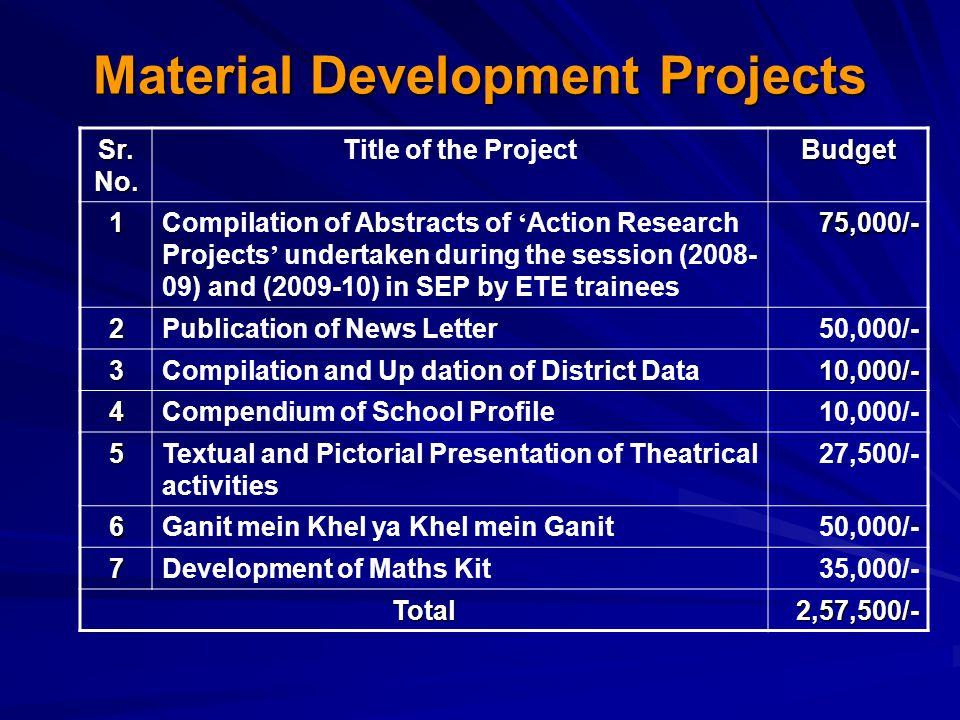 Material Development Projects Sr. No.