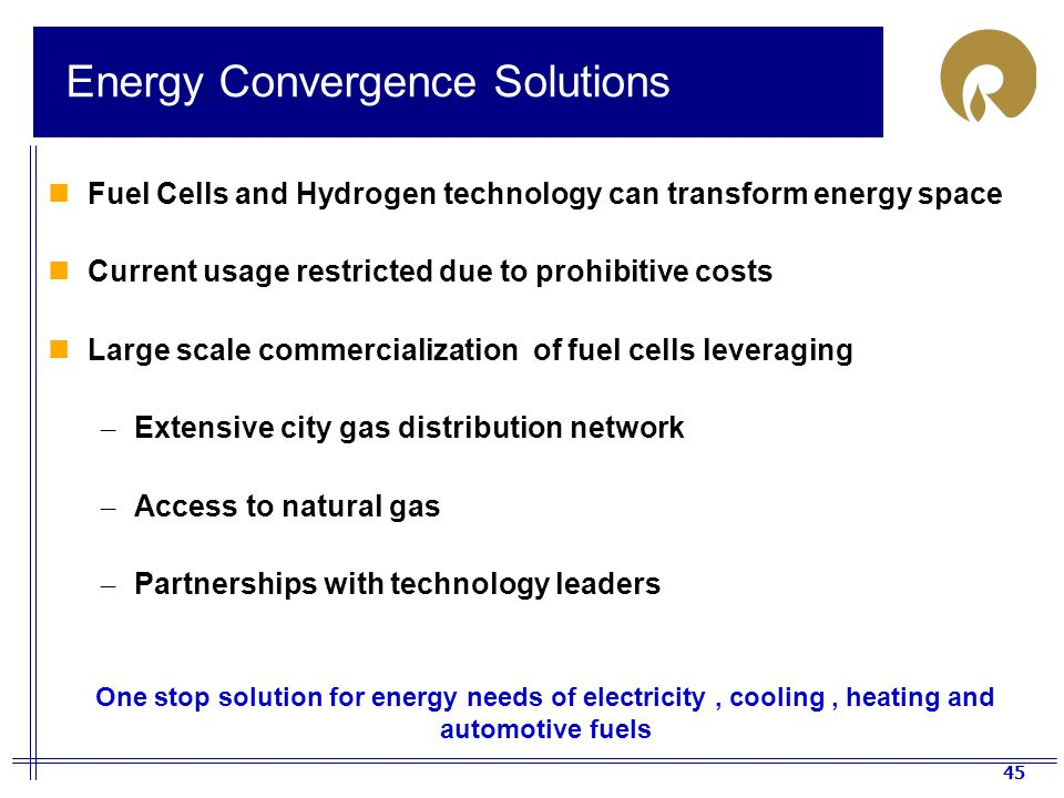 45 Energy Convergence Solutions Fuel Cells and Hydrogen technology can transform energy space Current usage restricted due to prohibitive costs Large scale commercialization of fuel cells leveraging – Extensive city gas distribution network – Access to natural gas – Partnerships with technology leaders One stop solution for energy needs of electricity, cooling, heating and automotive fuels