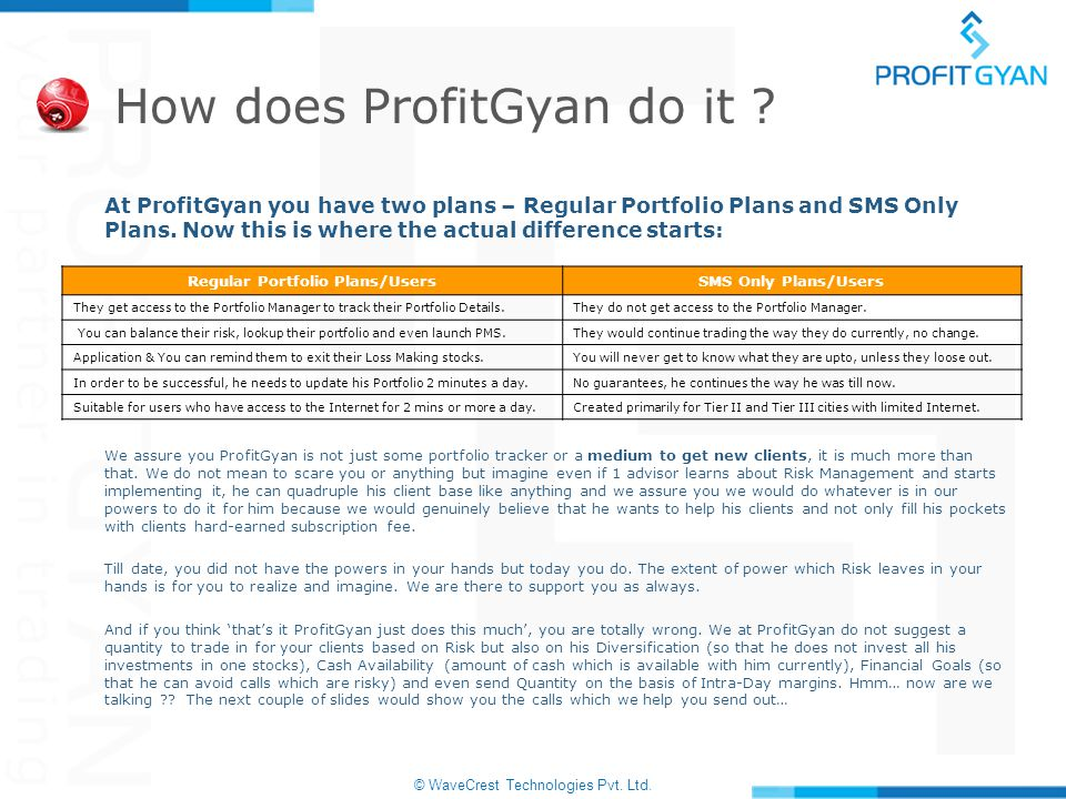 © WaveCrest Technologies Pvt. Ltd. How does ProfitGyan do it ? At ProfitGyan you have two plans – Regular Portfolio Plans and SMS Only Plans. Now this