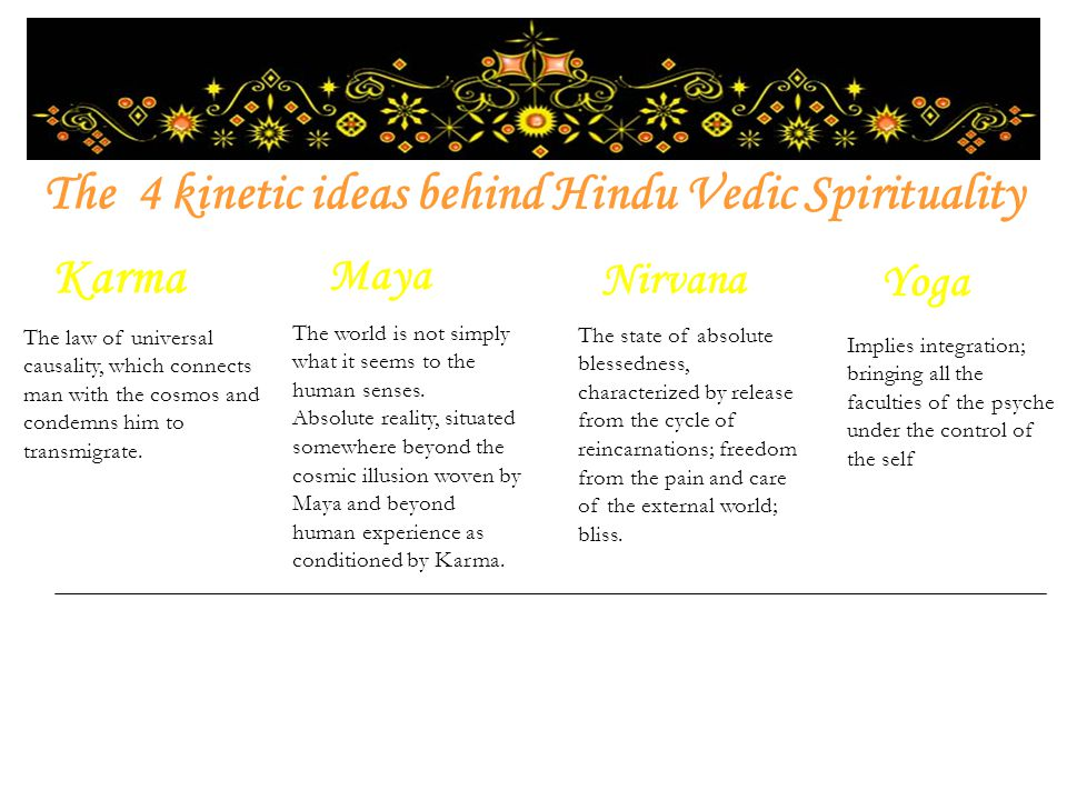 The 4 kinetic ideas behind Hindu Vedic Spirituality Karma Maya Nirvana Yoga The law of universal causality, which connects man with the cosmos and condemns him to transmigrate.