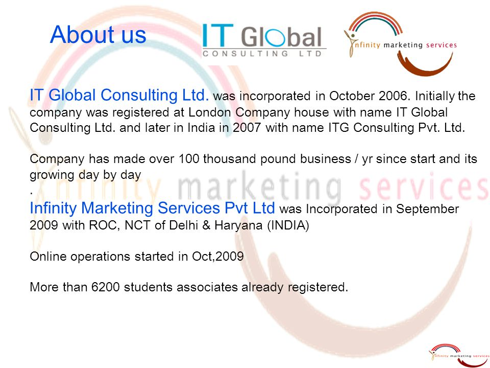 About us IT Global Consulting Ltd. was incorporated in October 2006. Initially the company was registered at London Company house with name IT Global
