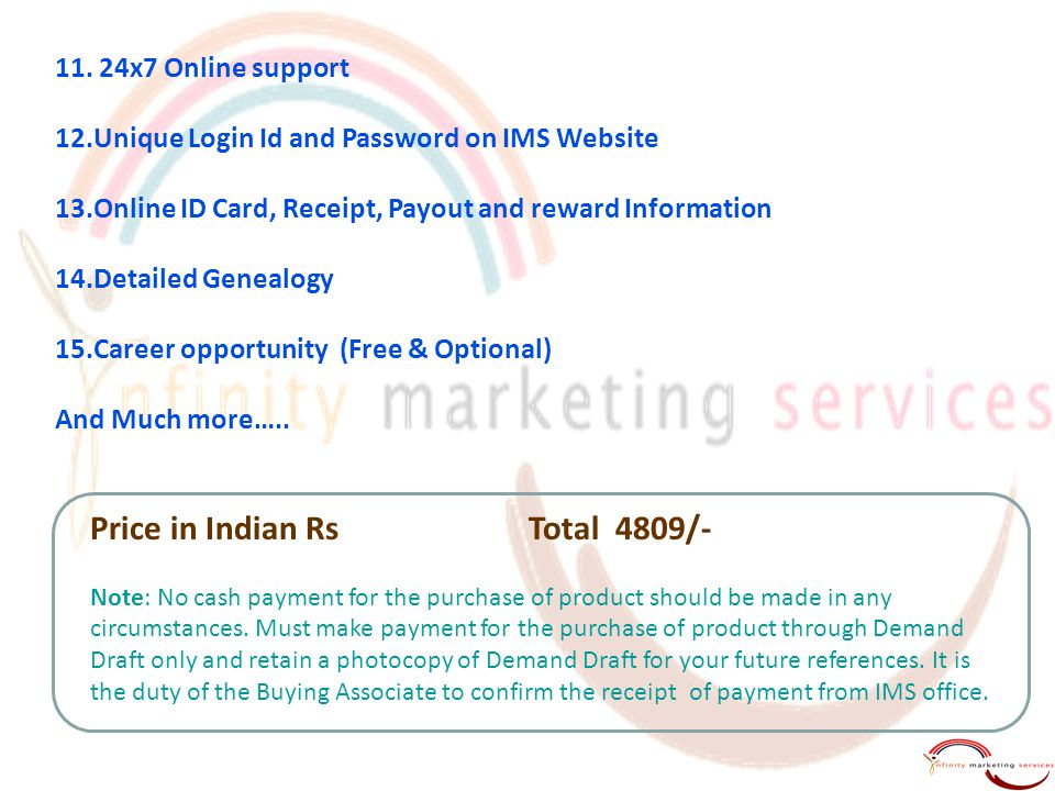 11. 24x7 Online support 12.Unique Login Id and Password on IMS Website 13.Online ID Card, Receipt, Payout and reward Information 14.Detailed Genealogy