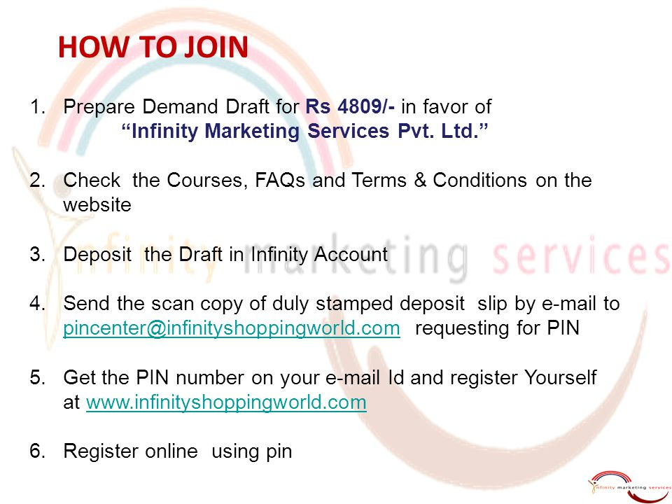 "1.Prepare Demand Draft for Rs 4809/- in favor of ""Infinity Marketing Services Pvt. Ltd."" 2.Check the Courses, FAQs and Terms & Conditions on the websi"