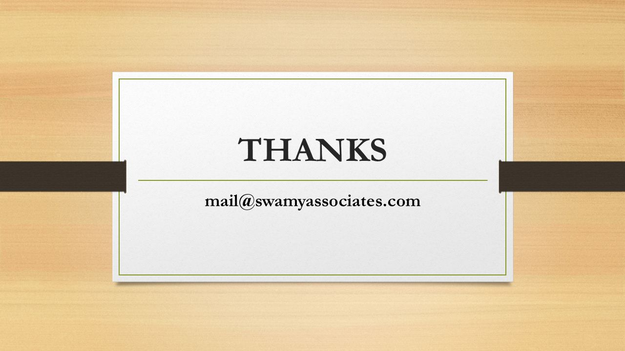 THANKS mail@swamyassociates.com