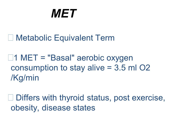 MET  M etabolic Equivalent Term 11 MET =