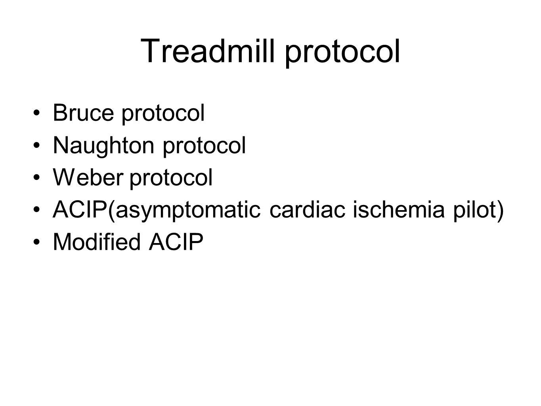 Treadmill protocol Bruce protocol Naughton protocol Weber protocol ACIP(asymptomatic cardiac ischemia pilot) Modified ACIP