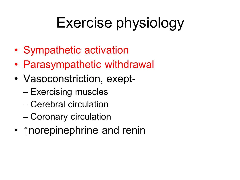 Exercise physiology Sympathetic activation Parasympathetic withdrawal Vasoconstriction, exept- –Exercising muscles –Cerebral circulation –Coronary cir