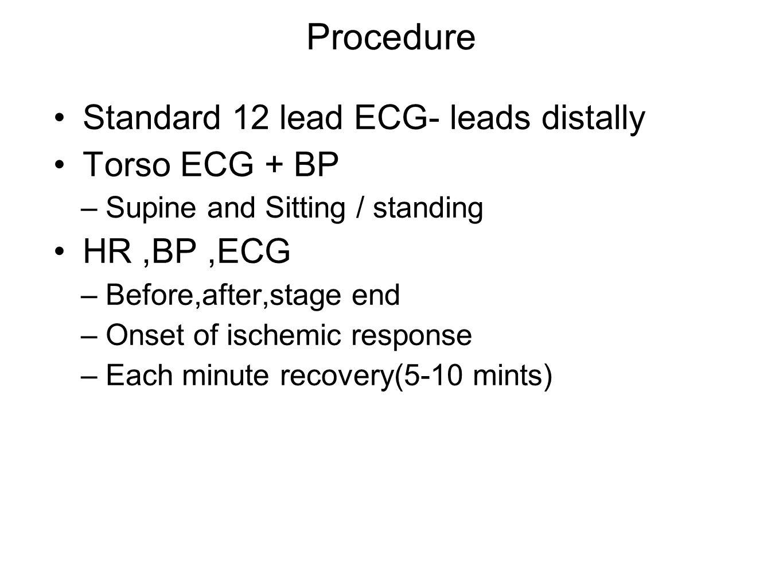 Procedure Standard 12 lead ECG- leads distally Torso ECG + BP –Supine and Sitting / standing HR,BP,ECG –Before,after,stage end –Onset of ischemic resp