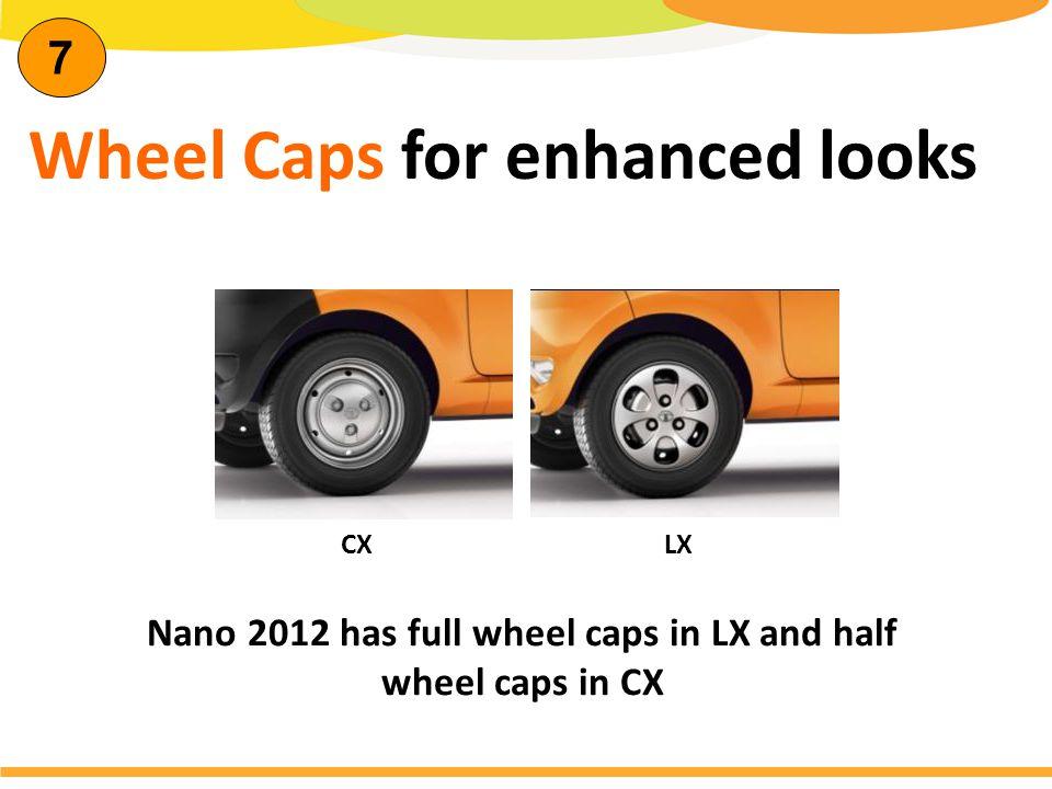 Wheel Caps for enhanced looks Nano 2012 has full wheel caps in LX and half wheel caps in CX CX LX 7
