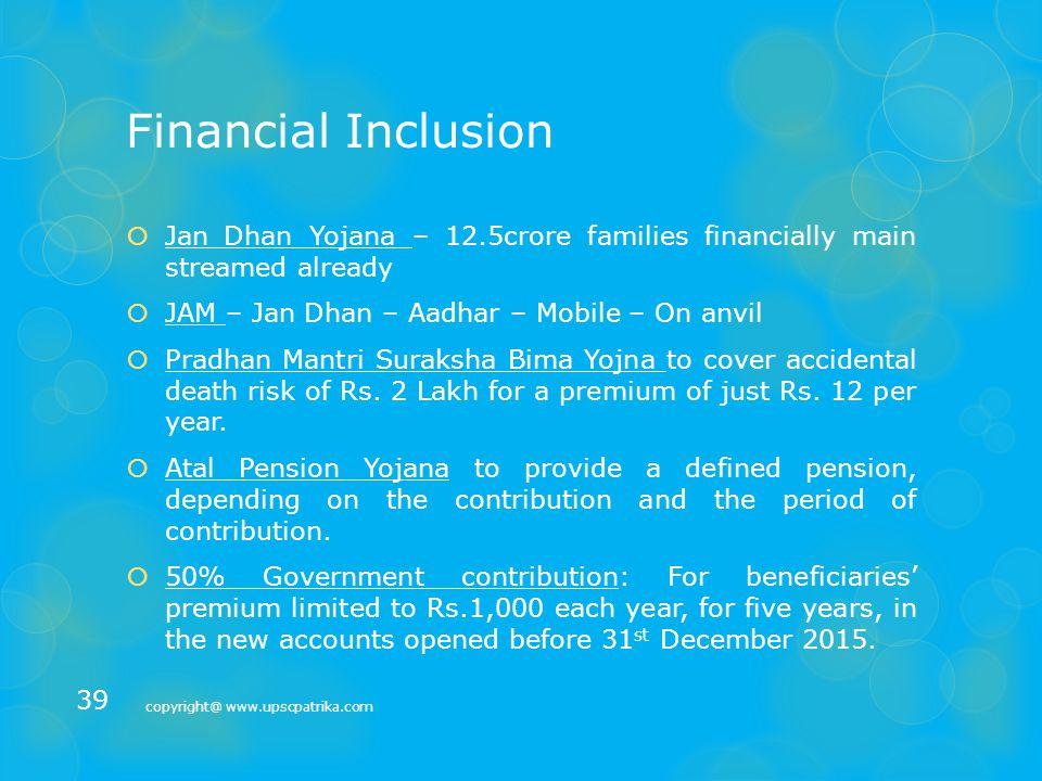 Development  Inclusive Growth - Financial Inclusion  Regional development copyright@ www.upscpatrika.com 38
