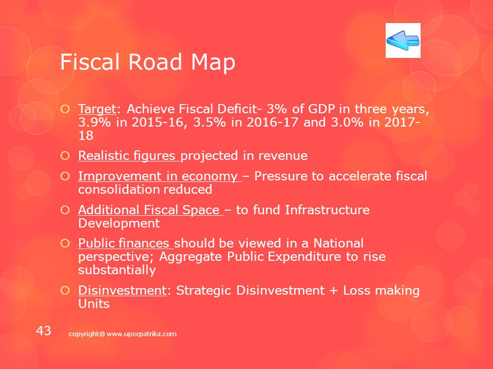 Fiscal Policy  Fiscal Road Map  Tax Proposals  Markets  Business/Investment copyright@ www.upscpatrika.com 42