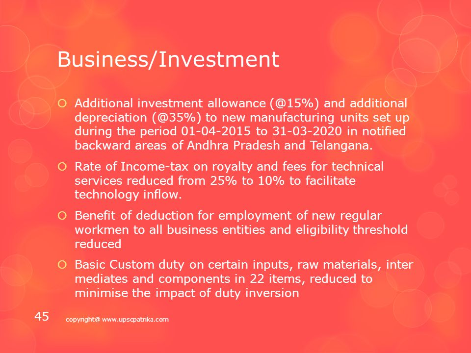 "Business/Investment  Tax ""pass through"" to be allowed to both category I and category II alternative investment funds.  Rationalisation of capital g"