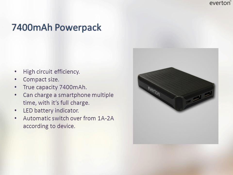 High circuit efficiency. Compact size. True capacity 7400mAh.